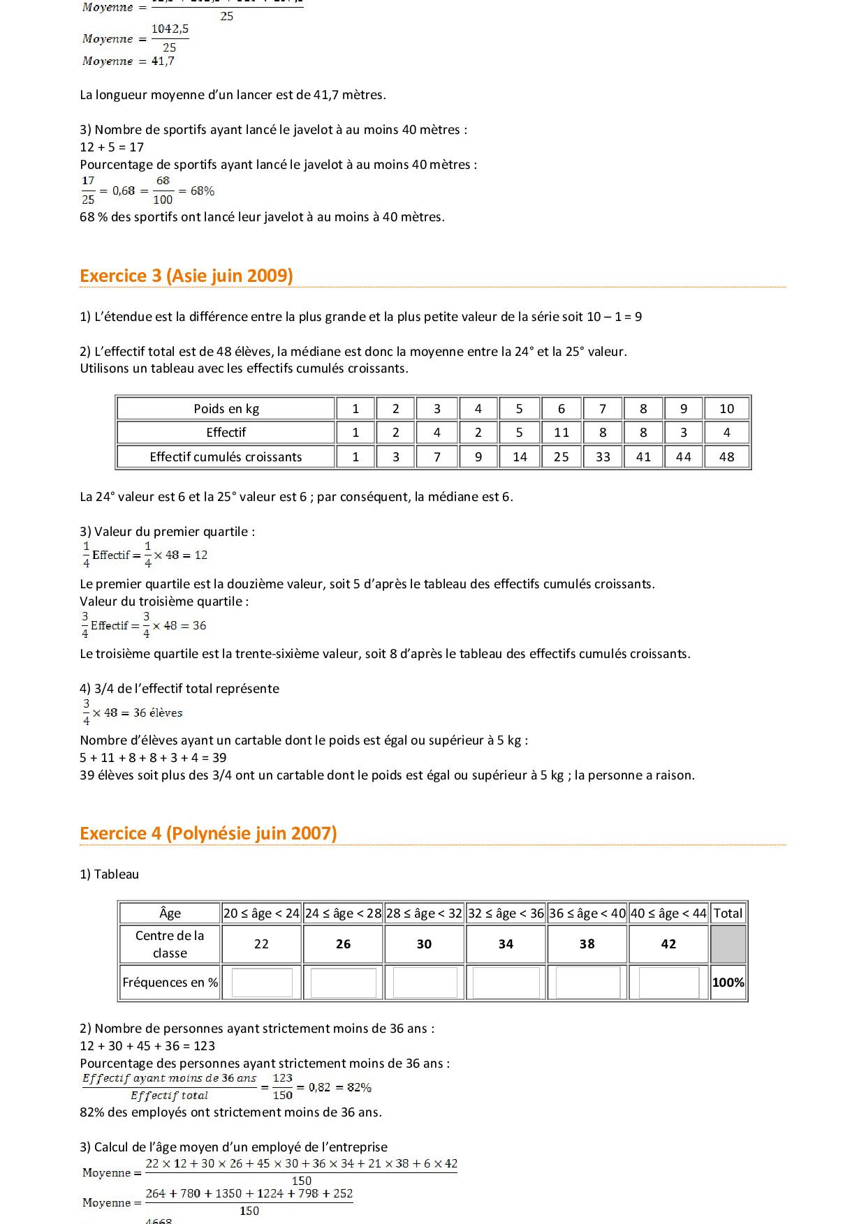 Statistiques - Corrigé d'exercices de brevet - AlloSchool