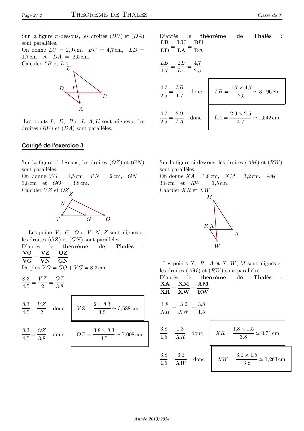Théorème de Thalès - Corrigé série d'exercices 2 - AlloSchool